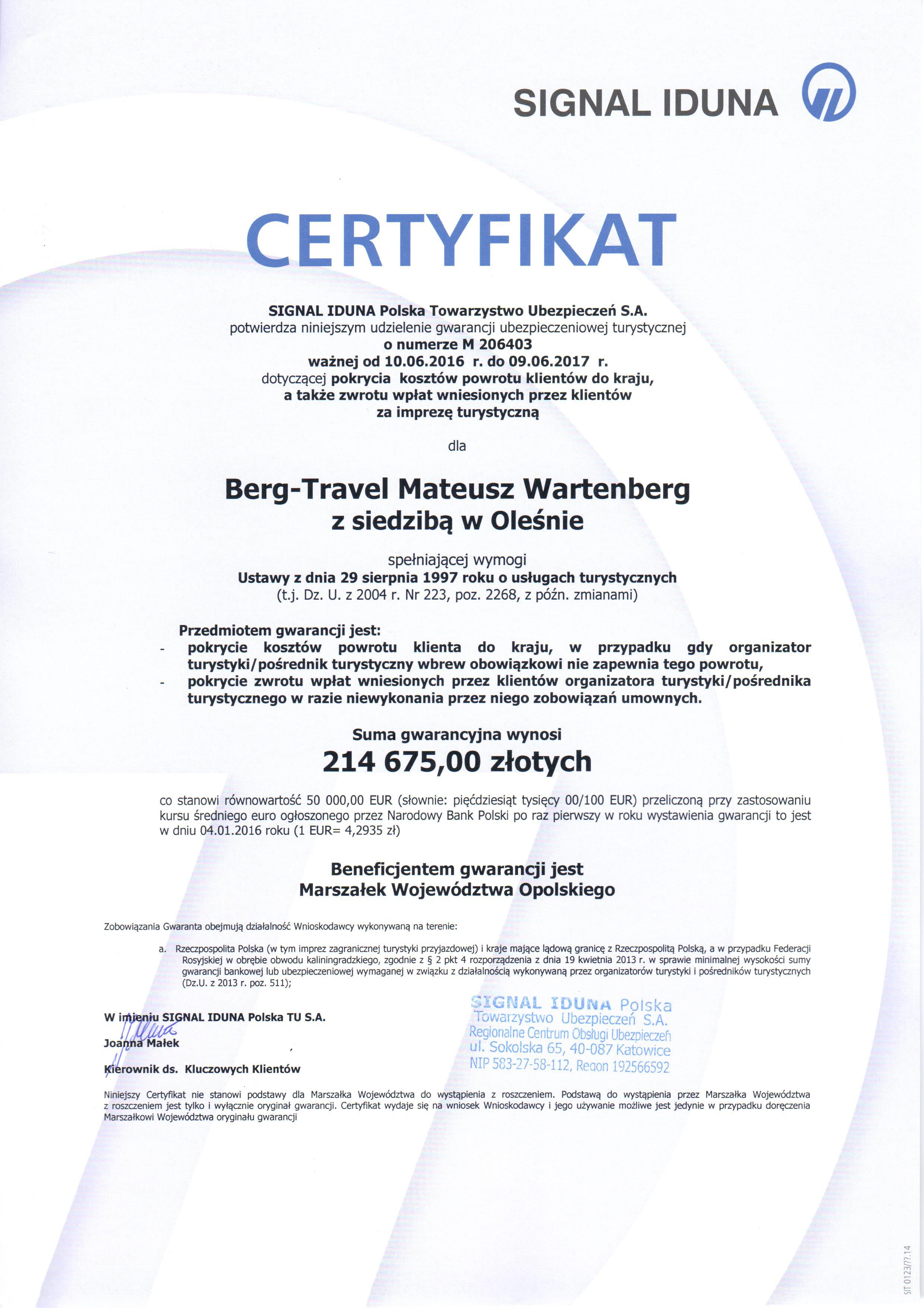 Certyfikat Signal-Iduna
